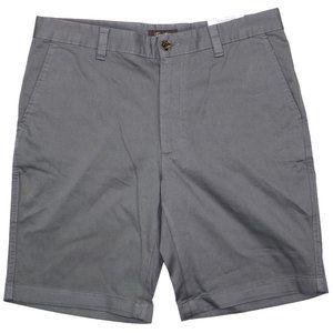 Tasso Elba Mens Flat Front Stretch Fit Shorts Grey